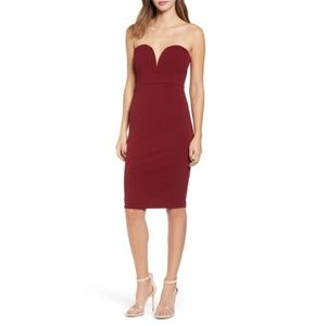 Leith Red strapless sheath dress S